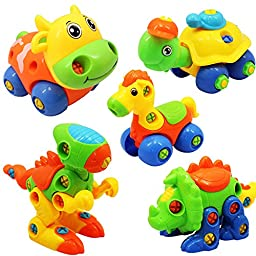 5pcs/Lot Take Apart Assemble Animals with Screwdrivers for Baby (Cow+Horse+Stegosaurus+Tortoise+Tyrannosaurus)