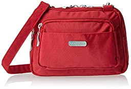 Baggallini Triple Zip Crossbody Travel Bag, Apple, One Size