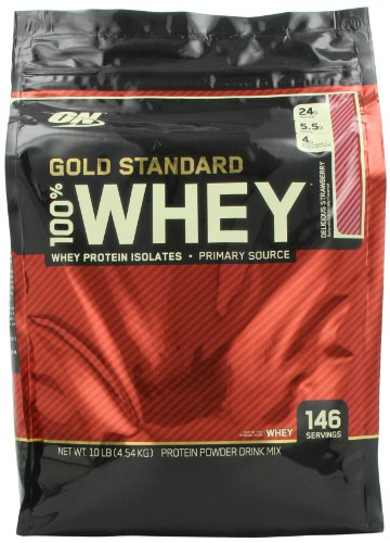 Optimum Nutrition 100% Whey Gold Standard, Delicious Strawberry, 10 Pound