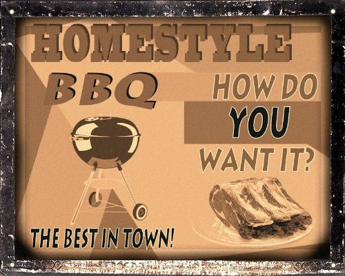 Barbecue Sign BBQ Meat Steak House Restaurant Diner / Kitchen Vintage Style Wall Decor Art 365