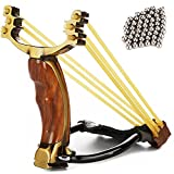 ZQQ Hunting Slingshot, Professional Stainless Steel Wrist Rocket Slingshot Folding Slingshot for Adult Men High Velocity Catapult with 2 Rubber Bands and 100 Slingshot Ammo (Color: Yellow)
