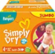 Pampers - 81268028 - Simply Dry Couches - Taille 4+ Maxi + Jumbopack - Lot de 2 X 74 Couches