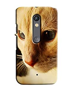Blue Throat Cat Face Printed Back Cover For Moto X Play