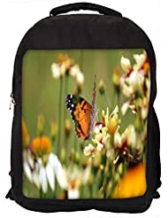 """Snoogg Butterfly In Small Flower Casual Laptop Backpak Fits All 15 - 15.6"""" Inch Laptops"""