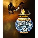 Ethnic Handmade Hand Panited Work Design Mosaic Wall Lamp 13 X 9 Inches