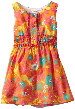 Little Lass Baby-girls Infant 1 Piece Sleevless Woven Dress, Orange, 12 Months