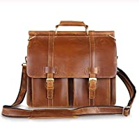 Kattee Top Leather Flapover Luggage Briefcase