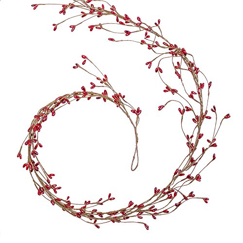 Faux Berry Garland, Artificial Bendable Branch, Lifelike Vine, 6 feet, Wedding Decor, Holiday Christmas Wreath, (Red), (2 Pack)