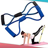 Training Resistance Bands Rope Tube Workout Exercise for Yoga 8 Type Fashion Body Fitness (Random Colour)