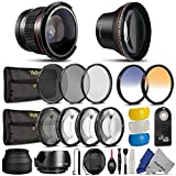 Essential 52MM Lens and Filter Kit for NIKON DSLR (D7000 D5100 D5000 D3200 D3000 D90 D80) - Includes: Professional 0.34X Fisheye 2.0X Telephoto 0.45X Wide Angle Lenses + IR Wireless Remote Control + UV CPL ND8 Filter KIT + Macro Close Up Set + Tulip Flower Collapsible Soft Rubber Lens Hood Set + Center Pinch Lens Cap + 2 Color Filters + Flash Diffuser Set + Deluxe Cleaning Kit + Lens Cleaning