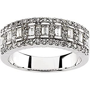 IceCarats Designer Jewelry 14K White Gold Wedding Band Ring. Size 6 Bridal Anniversary Band