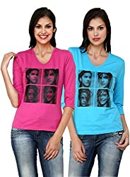 ESPRESSO WOMEN'S FASHIONABLE PRINTED V.NECK TOPS - PACK OF 2 - PINK / AQUA