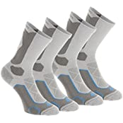QUECHUA FORCLAZ 500 HIGH-TOP ADULT HIKING SOCKS 2 PAIRS - COMET GREY