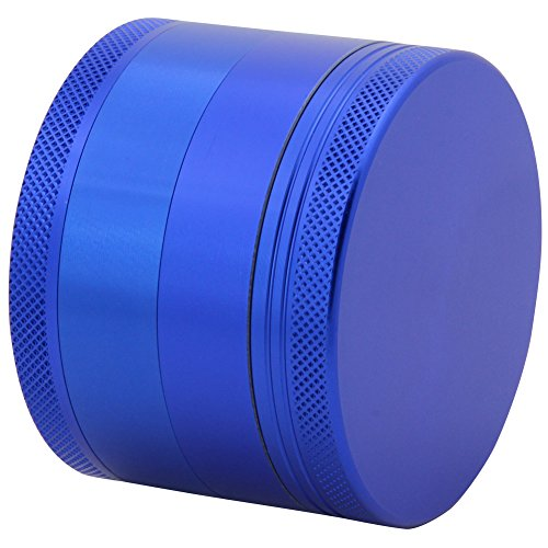 DCOU-Large-Aluminum-Pollen-Tobacco-Grinder-Spice-Grinder-Herb-Grinder-Weed-Grinder-Plant-Grinder-with-Sifter-with-Magnetic-Cover-4-Piece-25-Inches-Blue