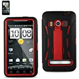 HYBRID CASE FOR HTC EVO 4G Two piece case Hard Shell that Protect your phone and soft Silicone for soft Comfortible grip. (Black/Red))
