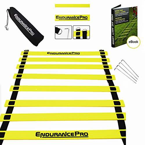 Endurance Pro Footwork Ladder with Agility Ladder Drills eBook and Bag - Best Ladder Training to Increase Your Speed, Fitness and Acceleration
