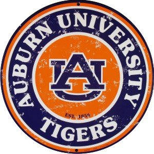 Auburn Tigers 12 Inch Embossed Metal Nostalgia Circular Sign at Amazon.com