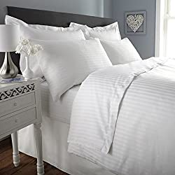 300 TC Duvet Cover - Double Size - Premium Cotton - White Striped - Duvet / Quilt / Comforter cover with zipper by Ahmedabad Cotton - 90 x 100 inches