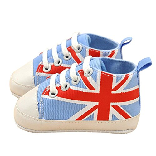 DZT1968® Baby Girl Boy Soft Sole UK Flag Canvas Prewalker Shoes Sneakers (0~6 Months, Sky Blue) (British Baby compare prices)