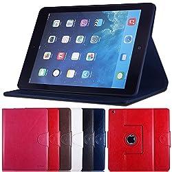 AirCase Premium Leather 360 Degree Rotatable Slim Portfolio Case with Magnetic Closure for Apple iPad Air (Navy Blue)