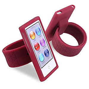 eForCity Silicone Watchband Case Compatible with Apple® iPod nano® 7th Generation, Hot Pink