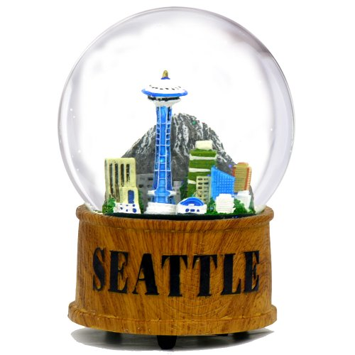 Seattle Snow Globe Musical Glass Dome with Skyline and Space Needle in Seattle Snow Globes Collection, 5.5 Inches (Rain Globe Seattle compare prices)