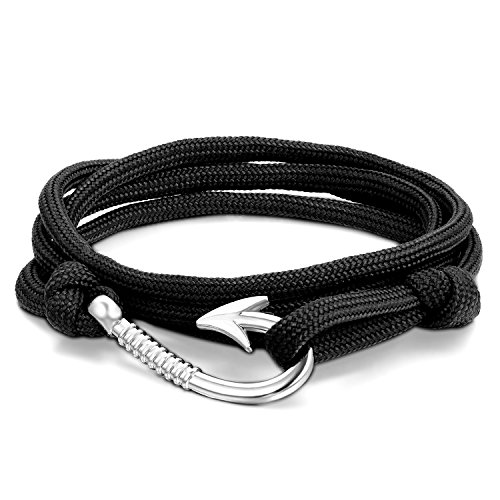 JewelryWe Adjustable Fish Hook Bracelet on Nylon Ropes - also Worn as Necklace or Ankle Bracelet - Black