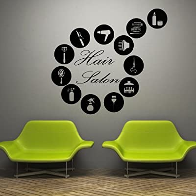 Wall Decal Decor Decals Art Hair Salon Hairdryer Beauty Mirror Lacquer Scissors Comb Hairdresser Stylist Inscription Word (M738)
