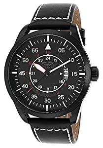 Invicta 19262 Men's I-Force Black Genuine Leather And Dial Watch