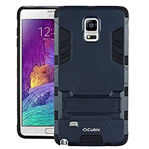 Galaxy Note 4 DUOS Case, Case Cover UV Coated Case Cover With Stand for Samsung Galaxy Note 4 DUOS (Navy Blue)