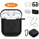 AirPods Case, Rockindeer 9 in 1 AirPods Accessories Set Protective Silicone Cover and Skin Compatible Apple AirPods Charging Case with Watch Band Holder/Ear Hook/Keychain/Strap/Carrying Box (Black) (Color: Black)