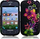 Samsung Galaxy Centura S738C (Straight Talk) 2 Piece Snap On Rubberized Image Case Cover, Cosmic Flower (Purple/Green/Pink) + LCD Clear Screen Saver Protector