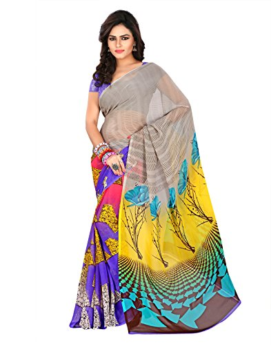 Saree Women's Purple , Yellow , Pink | Faux Georgette | Floral Print Bollywood New Designer Collection Latest Fashion For party Wear below Offer Price  available at amazon for Rs.513
