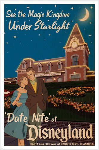 date night AT DISNEYLAND vintage poster 24X36 MAGIC KINGDOM by starlight HOT 0