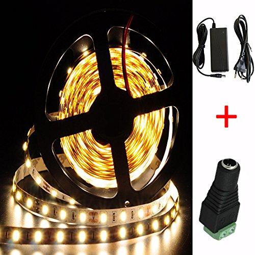 Warmweiß 20M (5M x 4) SMD 5630 300 LEDs (60 LEDs / Meter ) LED Strip Leiste Selbstklebend Streifen Lichtband Lichterkette 12 Volt mit Netzteil (Transformator) x 2 und DC Stecker x 2