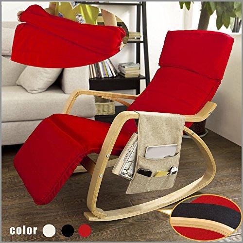 SoBuy Poltrona dondolo, poltrona oscillante, poltrona riposo, sedia relax, poltrona dondolo, Con Organizer da appendere, FST16-R (Rosso)