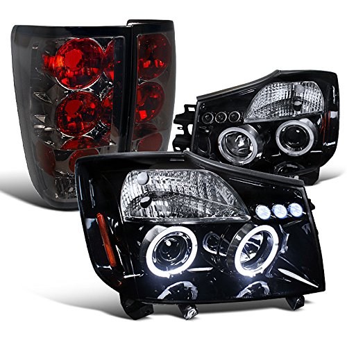 Nissan Titan Glossy Black Led Halo Projector Headlights, Smoked Tail Lamps (04 Nissan Titan Halos compare prices)