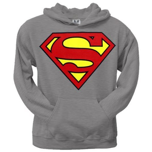Old Glory Mens Superman - Shield Logo Heather Pullover Hoodie - 2X-Large Grey