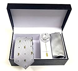 Classique Three Pieces Combo Gift Set Of Gentleman Slim Necktie (Silver) With Coat/Jacket/Shirt Flower & Handkerchief/Pocket Square In Leather Finish Gift Box Good For Gifting Purpose