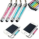 2xNo1accessory new blue + pink crystal shaft stylus pen for sony xperia Z2 xperia M2 & Samsung galaxy S5 Galaxy Note PRO & HTC Desire 310