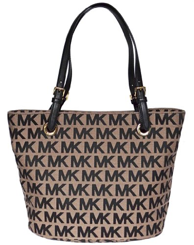 Michael Kors Black Signature Items Bag Shoulder Tote Handbag Purse
