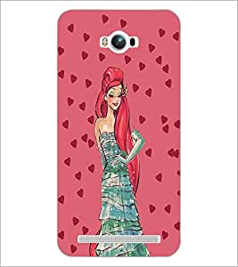 PrintDhaba Girl and Hearts D-2694 Back Case Cover for ASUS ZENFONE MAX ZC550KL (Multi-Coloured)