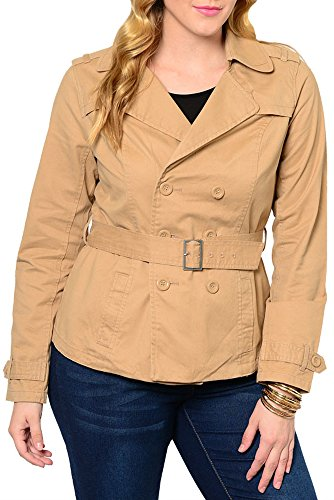 DHStyles Women's Plus Trendy Classy Double Button Belted Short Trench Coat