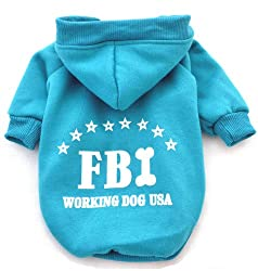 Demarkt Fashion FBI Dog Cat Puppy Fleece Hoodie Costume Clothes Pet Apparel Superdog Dress Up Pet Supplies (M, Blue)