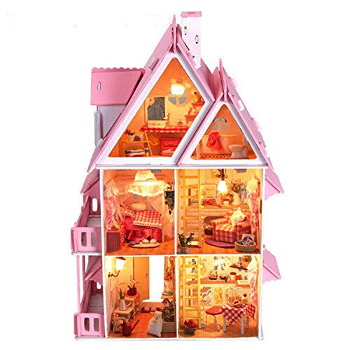 OK59 DIY plan toys dollhouse furniture furnished townhouse Wood Dream With Light Miniature majestic mansion Christmas Gift Birthday Gift
