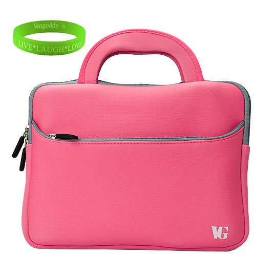 Quality Pink Neoprene Carrying Case with Handles for HP Touch Pad + Vangoddy Live*Laugh*Love Wristband
