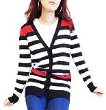 【D's Fashion】 トリコロールカラー ボーダー ロング カーディガン カーデガン (黒×白×赤)