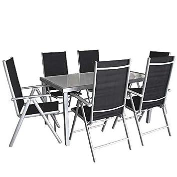 7tlg. Gartengarnitur Alu Glastisch 150x90cm Silber/Sanitiert + 6x Hochlehner 7 Positionen verstellbar klappbar / Gartenmöbel Terrassenmöbel Sitzgruppe Sitzgarnitur