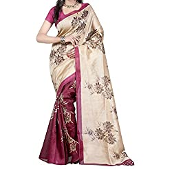 RGR Enterprice Woman's Bhagalpuri Designer Saree (ZAMKHUDI MAGENTA_Multi-Coloured_Free Size)