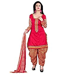 Meera Women's Cotton Unstitched Dress Material (PB2_Pink)